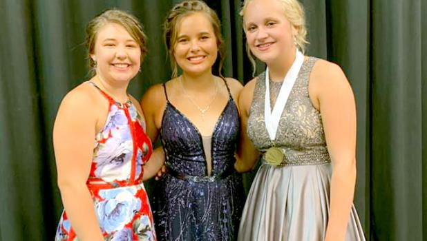 Named Second Alternate for Ivanhoe's Distinguished Young Women competition was Anna Krier (left), First Alternate Jada Sterzinger (middle) and Distinguished Young Woman of Ivanhoe for the Class of 2021 was Abby Rost (right).