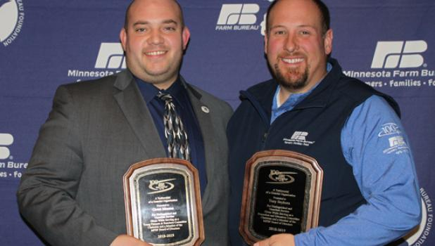 Grant Moorse is pictured with retiring MFBF Promotion & Education chair Tony Seykora from Freeborn County.