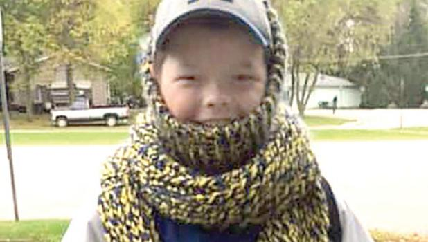 Fifth grader Garrett Schuttler bundled for the cold.