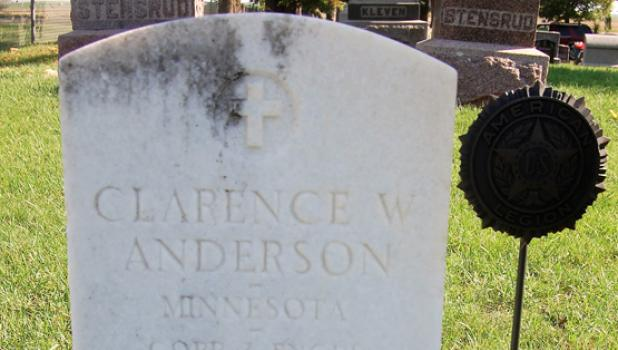 The military gravestone of Clarence W. Anderson rests in Hope Lutheran Cemetery south of Minneota.