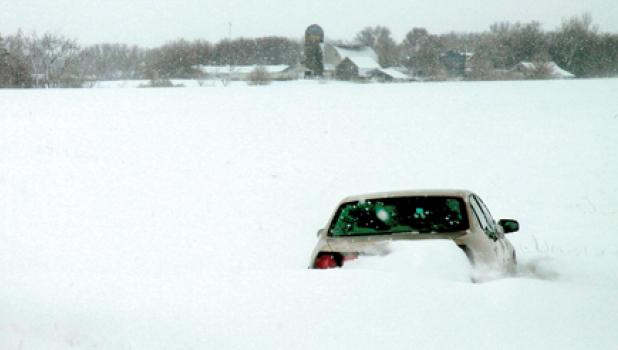 This car was located in a snowbank just a couple miles southeast of Minneota off Highway 68.