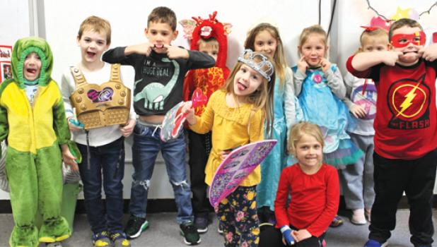 On Monday, the theme was Fairy Tale Days and these students were dressed for the part. Back row, left to right, Francis Myhre, Theodore Thomsen, Liam Hennen, Jerome Jones, Eleanore Jones, Sierra Gossen, Bella Myhre. Front row, left to right: Calliope Thomsen, Kylie Slatko, Reese Guza.