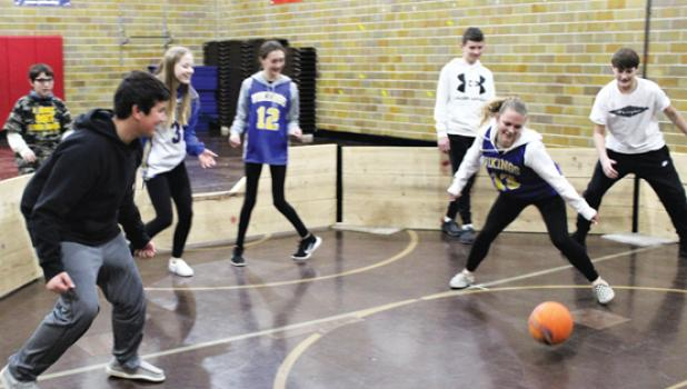 Sports Day featured several activities, including a GaGa Ball Tournament. Each classroom competed against each other while the other students watched via Google Meets in their classrooms.  Left to right: Joseph Beisler, Evan Hennen, Sarah Gruenes, Kate Badgett, Riley Wambeke, Madison Hennen and Eli Gruenes.