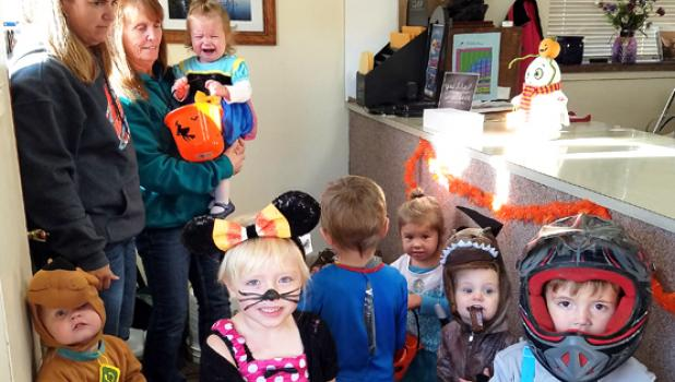 Cheryl Nuese's daycare stopped by for a visit.