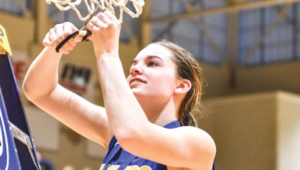 Morgan Kockelman cut down the net after their section 3A championship victory on Friday night. State quarterfinal tickets are now available!