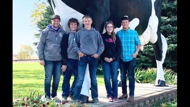 Members of the Minneota FFA Dairy Evaluation team include (left to right): Grady Moorse, Joe Verschelde, Zack Fier, Brooke Moorse and Logan Schuelke.