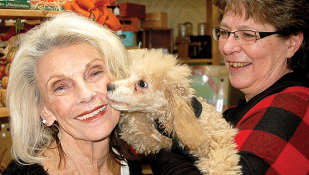 Darlene Josephson of Minneota found some dog-gone good deals at This and That Recreated as owner Shirley Gladis looks on.