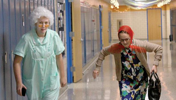 Also getting in on the fun were Madison Sorensen and Paige Welsh as they roamed the halls as grandmas.