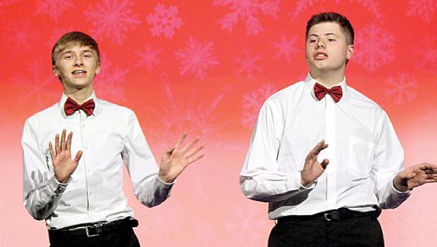 Playing the characters made famous by Bing Crosby and Danny Kaye in the movie are Jacob Haen and Jackson Jeremiason.
