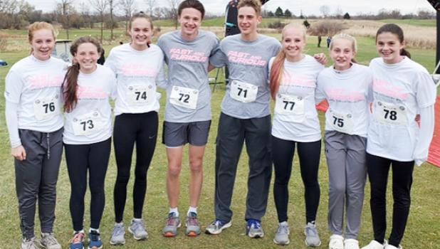 Members of the Canby/Minneota girls and boys cross country teams invited to the TCRC Showcase were, left to right: Braelyn Merritt, Jaelin Anderson, Grace Drietz, Blake Stoks, Kolton Duis, McKenzie Ruether, Hannah Fadness, Natalie Stoks.