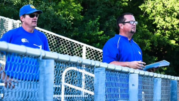 Legion Coaches J.D. Pesch and Keven Larson addressed the crowd in between games.