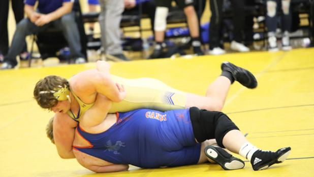 Minneota's Jayden Gamrak pinned Canby's Denver Noyes in 2:46 to seal Minneota's victory over long time rival Canby. Gamrak also picked up a pin in 4:50 against Wabasso-Red Rock Central.