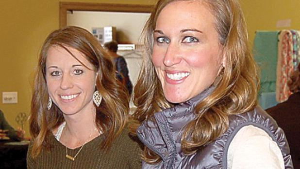 Nikki Traen, left, and Lori Crowley were all smiles as vendors at Bethel Fellowship Church. The two make homemade jewelry for their Pretty Unique and Happy Crafter business.