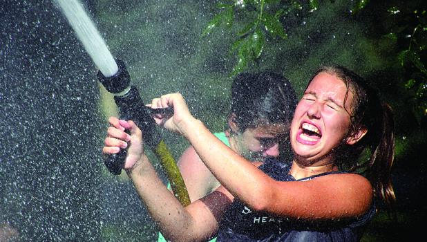 Josie Frank laughed her way through the water fights.