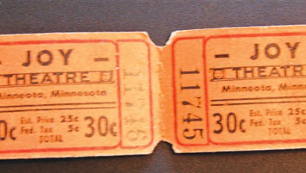 Actual ticket stubs from the Joy Theatre