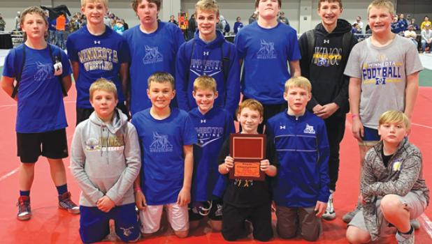 The Minneota 7th and 8th grade team went 3-2 and won their pool at the NWYA State Tournament this past weekend. Front row, left to right: Cael Fier, Quinton Anderson, Blake Mead, Hunter Danielson, Adam DeVlaeminck, Levi Gamrak. Back row, left to right: Browdy Lozinski, Brock Fier, Kyler Lozinski, Destin Fier, Eli Gruenes, Chase Johnson, Noah Gorecki.
