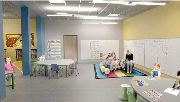 Proposed expansion of the kindergarten classrooms at Minneota Elementary School.