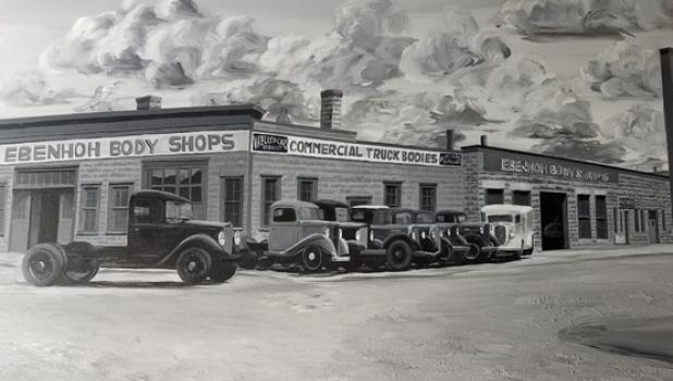 The black and white painting above was done by Koppien of an old-time body shop in Sleepy Eye in the 1940s.
