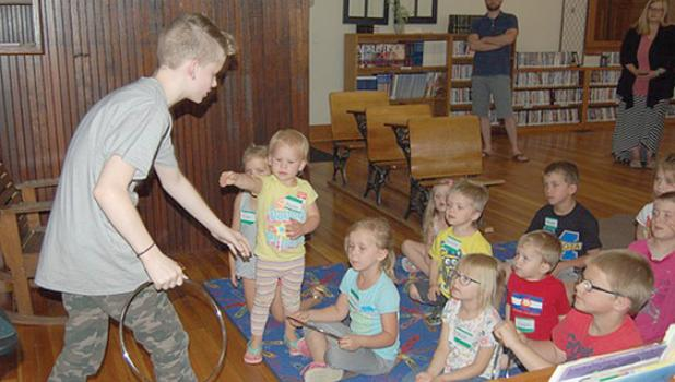 On Wednesday evening, story hour at the Minneota Public Library kicked off its summer program with an appearance of Max the Magician.