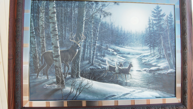 A painting by the late James Meger has been donated for the silent auction at the Adult Prom. The painting can be viewed at the library.
