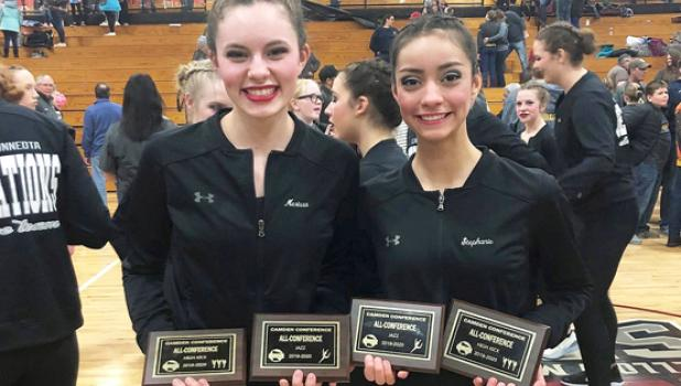 Merrisa Traen, left, and Stephanie Birk, seniors and captains, earned all-conference in both Kick and Jazz.