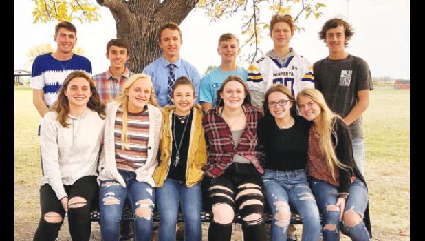 Front row, left to right: Audra Buysse, Abby Rost, Anna Krier, Raeann Bruner, Isabelle Kimpe, Klaire Banks. Back row, left to right: Braeden Panka, Carter Schuelke, Caleb Sterzinger, Ben Skorczewski, AJ Myhre, Chase Differding.
