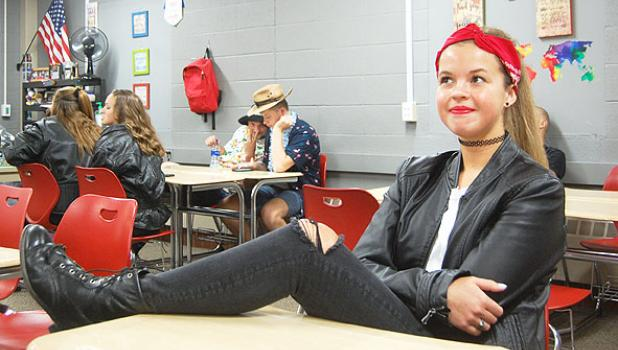 Senior Molly Krog was full of sass as a biker today.