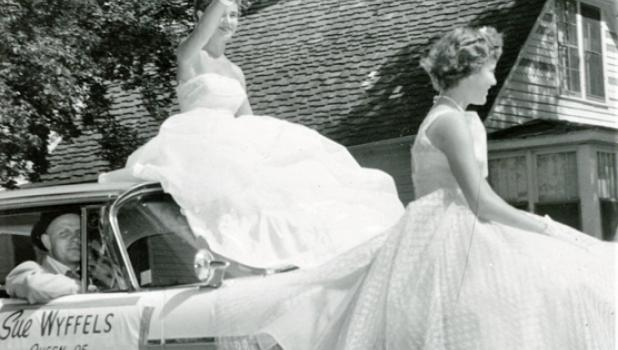 Sue Wyffels, the 1957 Ghent Belgian-American Days Queen, rides in a float in Tracy's Boxcar Days parade over Labor Day weekend in 1957. This photo appeared in the Marshall Messenger on Sept. 3, 1957.