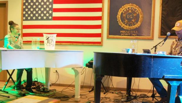 """Rock it Man Entertainment provided the music for the St. Edward Catholic school """"Musical Night Out"""" event Saturday, February 1 at the American Legion with its dueling pianos playing musical requests from the audience."""
