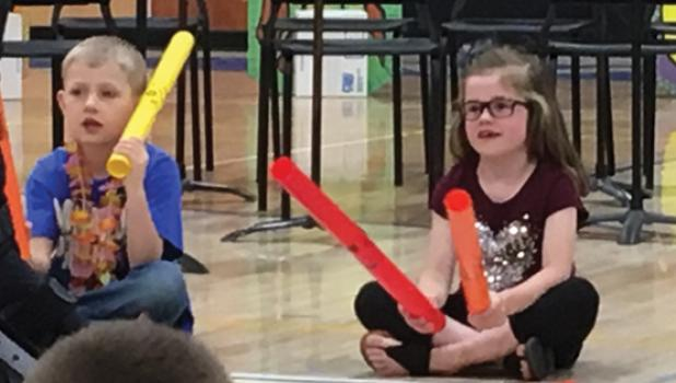 The kids also played tubes as instruments. They were: Kade Sussner and Taryn Myrvik.