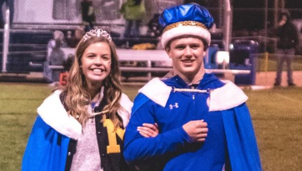 Queen Molly Krog was escorted by King Austin Kloos during halftime at the MACCRAY game Friday night. This was the final day of Minneota's 2019 Homecoming event.