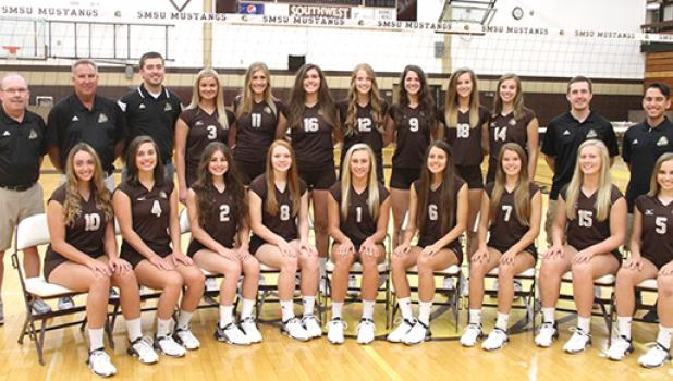 The SMSU volleyball team entering tournament play includes Taylor Reiss and Megan Larson.