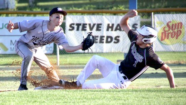 Sam Buysse stole second against Madison. Gavin Fernholz was late with the tag.
