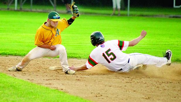 As a pinch runner Sam Buysse slid into second against the Marshall's A's second baseman Alex Thompson. He eventually scored the tying run.