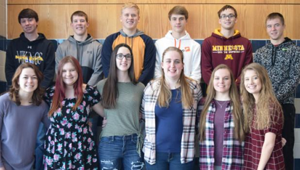 Minneota King and Queen Candidates for Snow Week include:    Front Row: Isabelle Hennen, Jasmine Clark, McKinley Hasert, Ashlynn Monnet, Mariah Muhl, and Grace Jeremiason.  ​Back Row: Cole Hanson, Josh Laleman, Mitchell Rost, Landon Rolbiecki, Cole VanOverbeke, and Tanner Sterzinger.