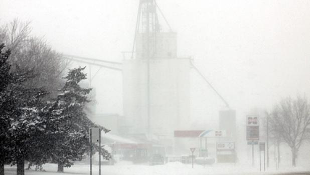 A new storm hit the Minneota area on Tuesday. The Farmers Co-op Elevator was barely visible from just down the street.