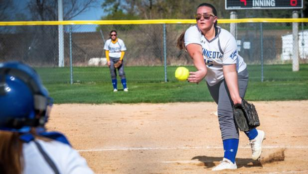 Minneota/Canby pitcher Ava Larson pitched all seven innings for the win in the first game of a doubleheader against Tracy-Milroy-Balaton last Thursday in Minneota.