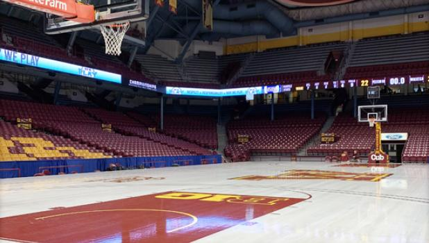 Williams Arena in Minneapolis stands empty after MSHSL officials cancelled the girls basketball tournament.