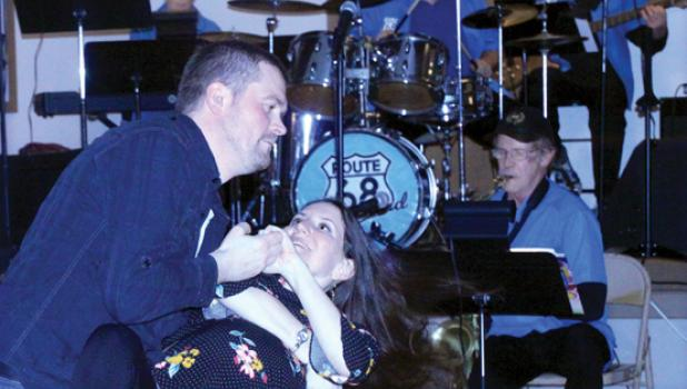 Seth and Theresa Myhre danced as the Route 68 Big Band played at the Chocolate Affair in Minneota at the American Legion.
