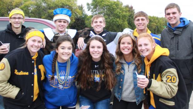 Seniors celebrating outside included the Minneota Royalty: (front row, left to right) Madison Sorensen, Anna Gruenes, Princess Merissa Traen, Queen Molly Krog and Natalie Bot. Back: Jacob Haen, King Austin Kloos, Riley Buysse, Prince Blake Reiss and Nolan Boerboom.