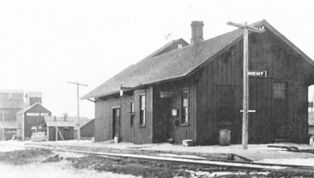 The Chicago & Northwestern train depot in Ghent in the 1950s.