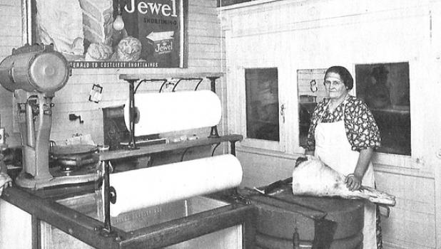 """Smishek's Meat Market in Taunton is pictured here in the early 1930s. At right was referred to as """"Grandma Katie""""."""