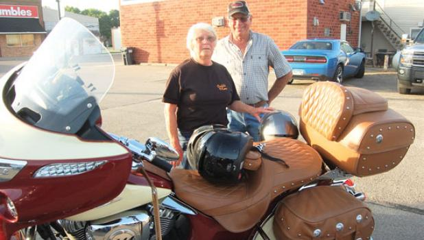 Lois and Walter Timm of Wood Lake, who have been riding together since 1973, attended their first Memorial Run event on Saturday.
