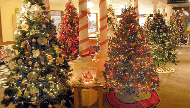 A view of some of the 20 decorated trees as past of the Lyon County Museum's Indoor Christmas Tree Walk.