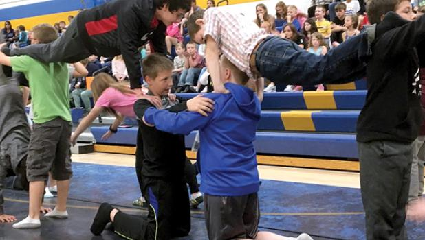 And the Fifth Grade, under the direction of Physical Education Director Joel Skillings, showed their tumbling routines.