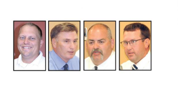 Lyon County Sheriff Candidates are: (left to right) Steven Louwagie, Jim Marshall, Tony Rolling and Eric Wallen.