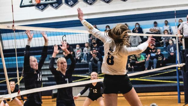 Natalee Rolbiecki soars high for an attack against RTR on Thursday night in Tyler.