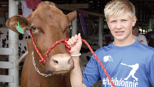 Zack Fier and his grand champion dairy cow.