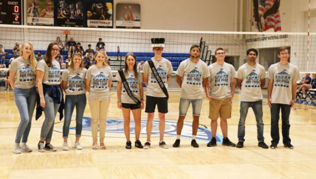 The royalty at Dakota State are: (left to right) Paulina Zach, Anna Fields, Angela Hupf, Rayanne Liester, Viana Waldner, Bailey Belisario, Joshua Snook, Chase Opsahl, Rajesh Godasu, and Peter Engels.