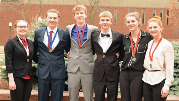 Viking speakers advancing to state include (left to right): Zoe DeBoer, Brenden Kimpe, Sean Dilley, Jacob Haen, Tara Thooft and Natalie Bot.